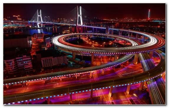 Image Night Suspension Bridge Capital City Horizon Downtown