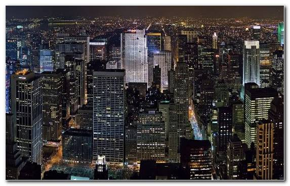 Image Night Urban Area Skyscraper Skyline Manhattan