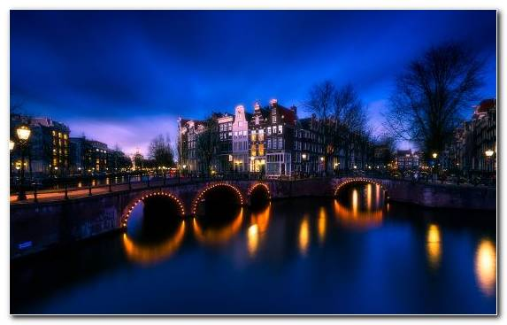 Image Night Waterway Body Of Water Amsterdam Water
