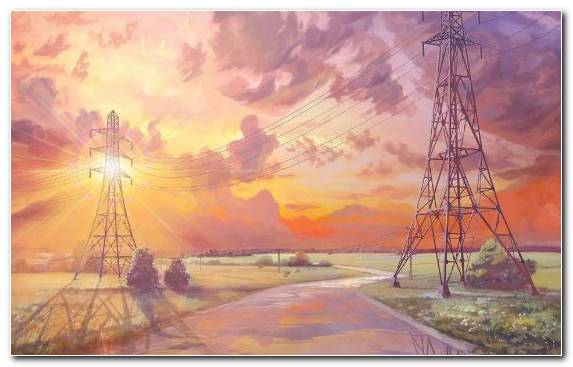 Image Painter Transmission Tower Cloud Design Art