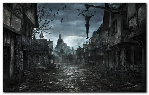 Image Painting Darkness Dark Fantasy Capital City Fantasy World