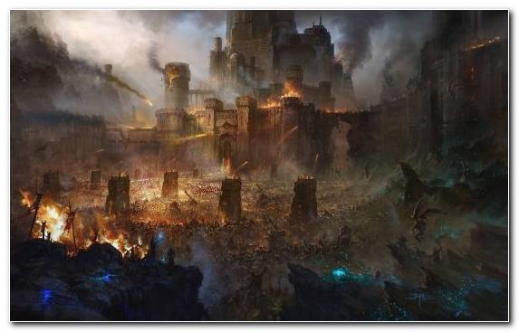 Image Painting Fantasy City Landscape Sky