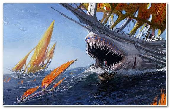Image Painting Monster Sea Wave Galley