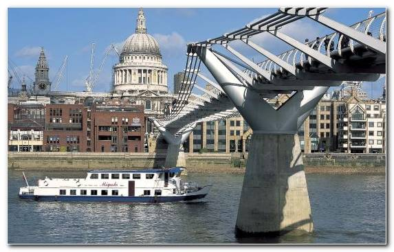 Image Passenger Ship Millenium Bridge Millennium Bridge London Water Transportation Bridge