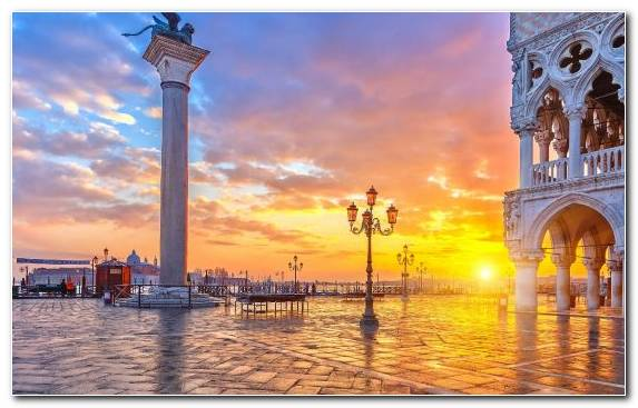 Image Piazza San Marco Sunrise Reflection Sunset Horizon