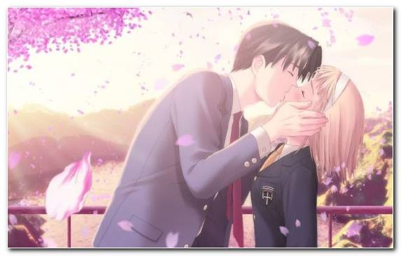Image Pink Snapshot Interaction Kiss Anime