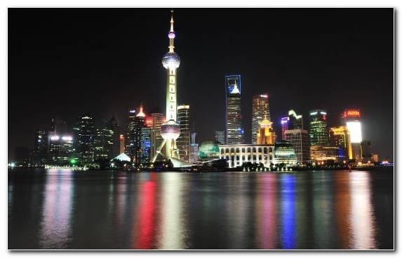 Image Pudong Skyline Urban Area Night Horizon Skyline