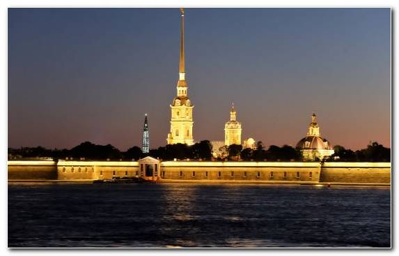 Image Reflection Neva River Tower Dusk Night