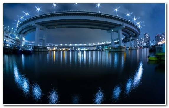 Image reflection architecture light cityscape rainbow bridge