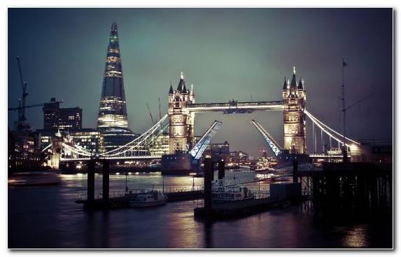 Image reflection city bridge skyline night
