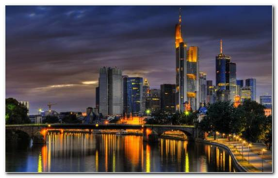Image Reflection Skyline Landmark Frankfurt Metropolis