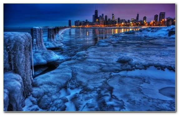 Image Reflection Water Chicago Skyline Ice Lake Michigan