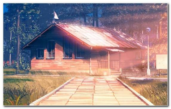 Image Roof House Farmhouse Hut Painting
