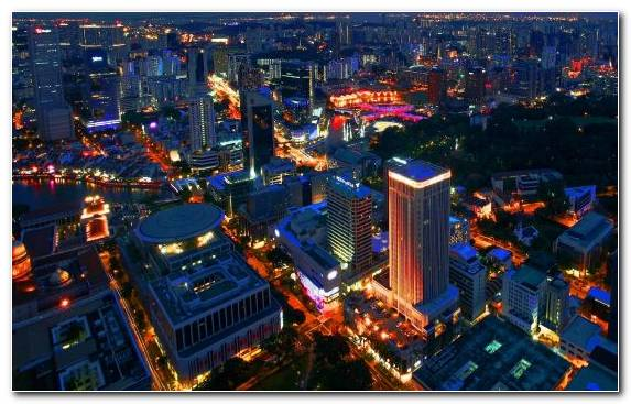 Image Singapore Night Town Urban Area Metropolis