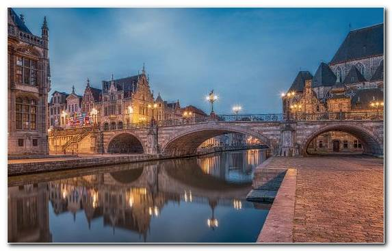 Image Sky Bruges Canal Waterway Reflection