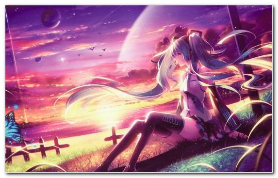 Image Sky Psychedelic Art Hatsune Miku Kaito Anime