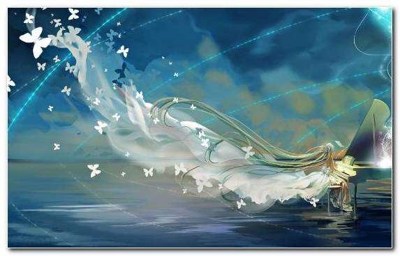 Image Sky Reflection Hatsune Miku Vocaloid Water