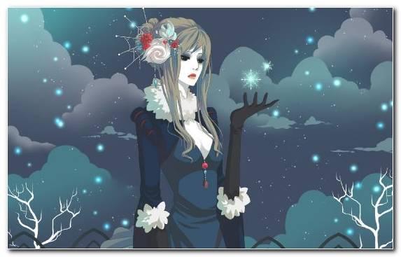Image Sky Snowflake Black Hair Mangaka Girl
