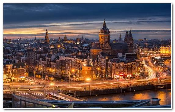 Image Sky Town Amsterdam Dusk City