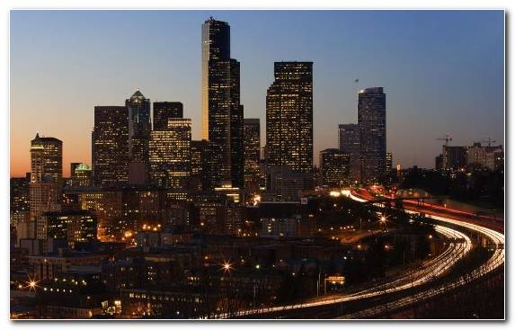 Image skyline new york city capital city night horizon