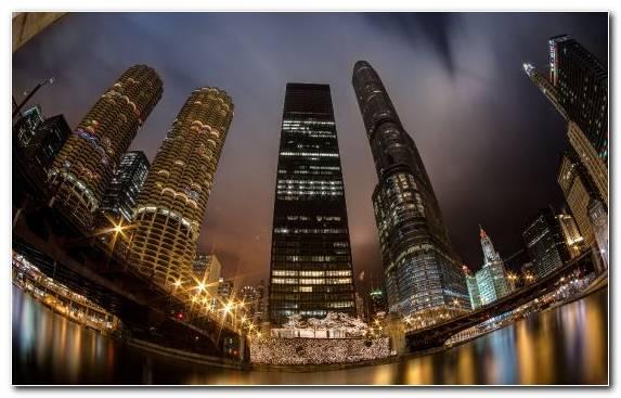 Image skyscraper metropolis building night chicago