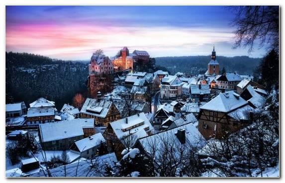 Image snow mountain range city village castle