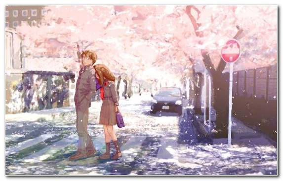 Image Snow Tree Hug Anime Winter