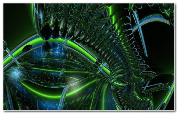Image Space Fractal Art Neon Sign Neon Lighting Green