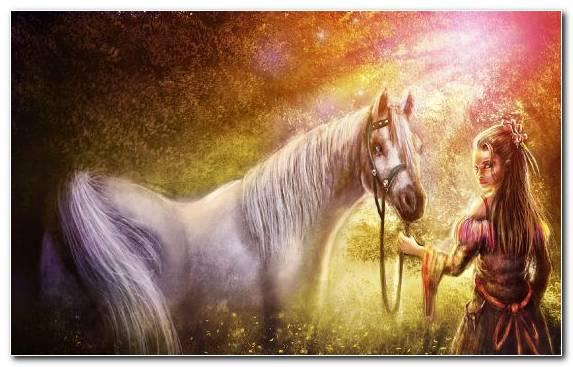 Image Stallion Mustang Horse Fantasy Woman Mane