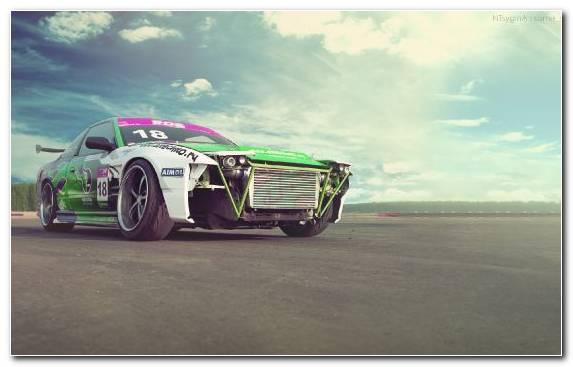 Image stock car racing race track auto racing Nissan 180SX racing