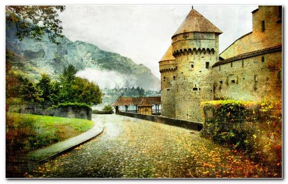 Image Stock Illustration Watercourse Illustration Medieval Architecture Historic Site