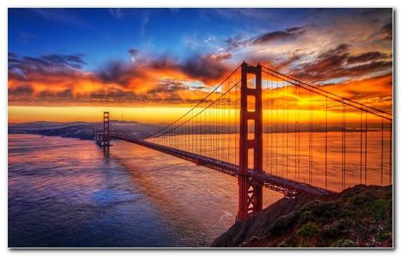 Image Sunrise Horizon Morning Golden Gate Bridge Dawn