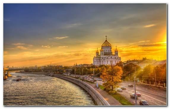 Image Sunset Evening Moscow Kremlin Sky Morning