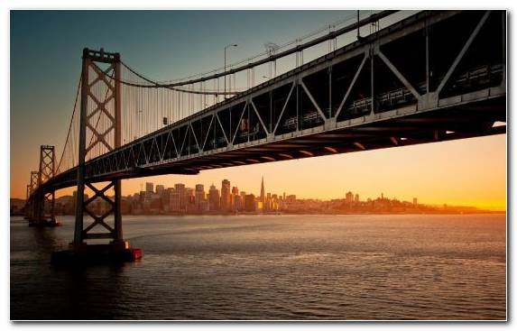 Image Sunset Suspension Bridge Bridge Golden Gate Bridge Evening