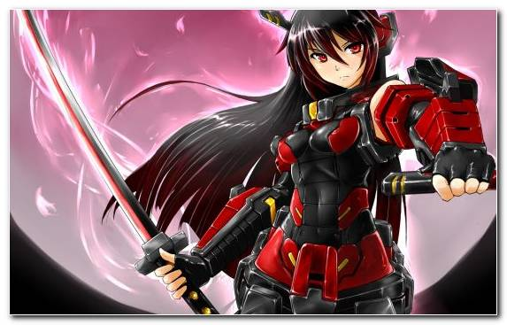 Image Sword Cg Artwork Black Hair Brunette Moon