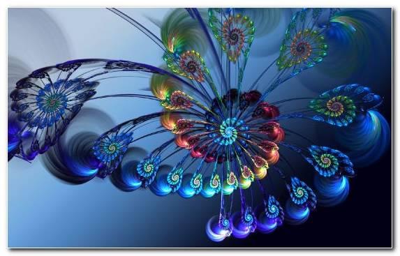 Image Symmetry Cobalt Blue Flora Fractal Art 3d Computer Graphics