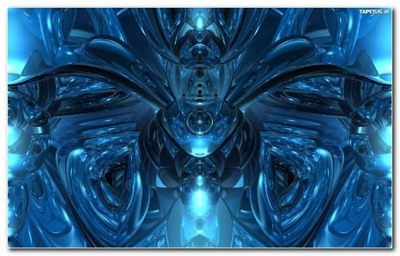 Image symmetry robot blue fractal art electric blue
