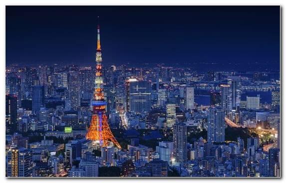 Image Tokyo Tower Landmark Skyscraper Horizon Night