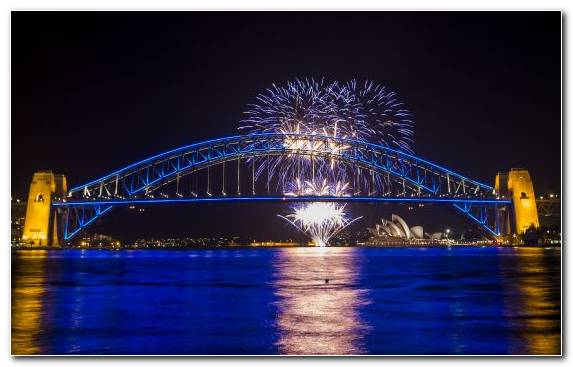 Image Tourist Attraction Sydney Harbour Night Water Sydney Opera House