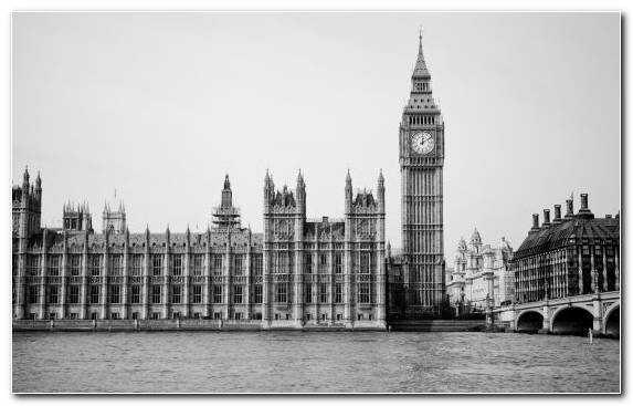 Image Tower Spire River Thames Monochrome Houses Of Parliament