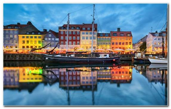 Image Town Copenhagen Waterway Cityscape Canal