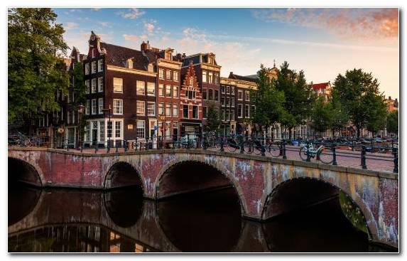 Image Town Canal Amsterdam City Evening