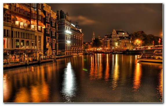 Image town cityscape reflection waterway water
