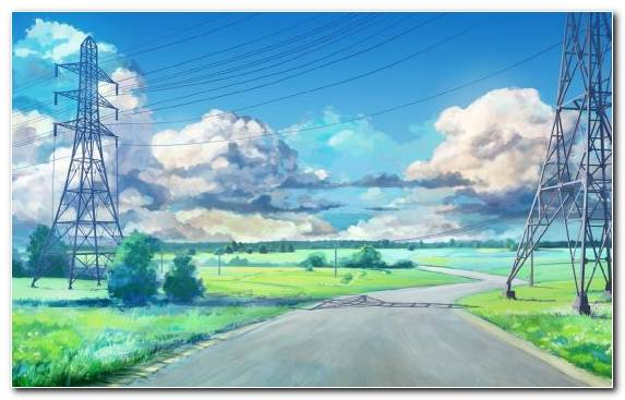 Image transmission tower painting overhead power line cloud electricity
