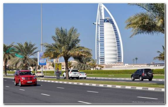 Image transport seychelles palm trees road Burj Al Arab Jumeirah