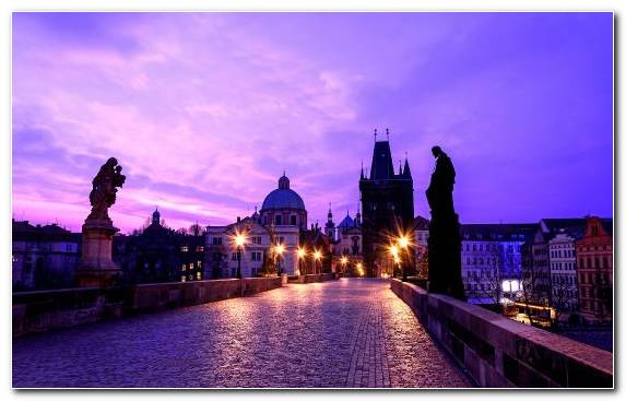 Image Twilight Reflection Waterway Sky Prague Castle