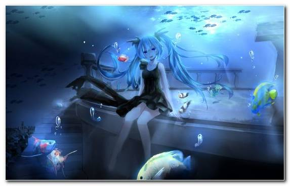 Image Underwater Marine Biology Black Hair Hatsune Miku Special Effects