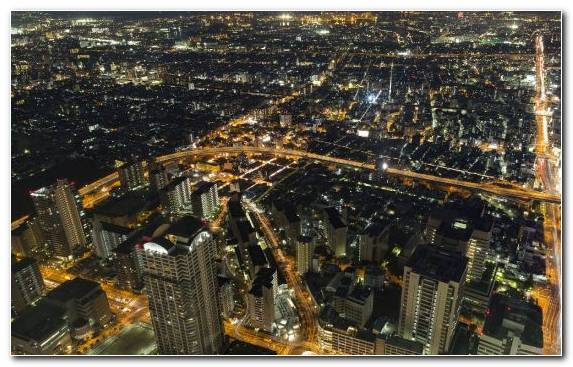 Image Urban Area City Night Skyline Birds Eye View