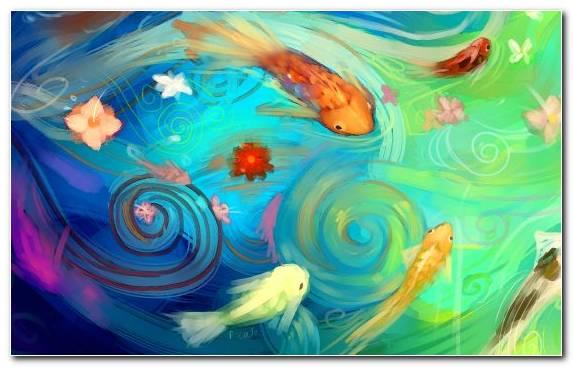 Image Vertebrate Acrylic Paint Painting Goldfish Underwater