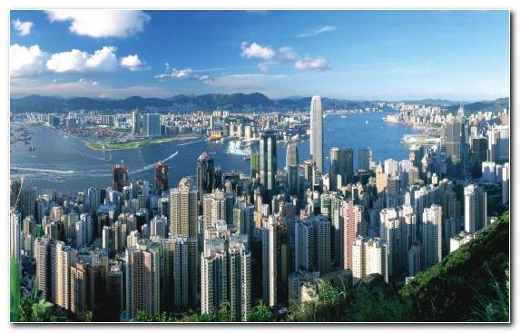 Image Victoria Harbour Peak Tower Tourist Attraction Cityscape Metropolis